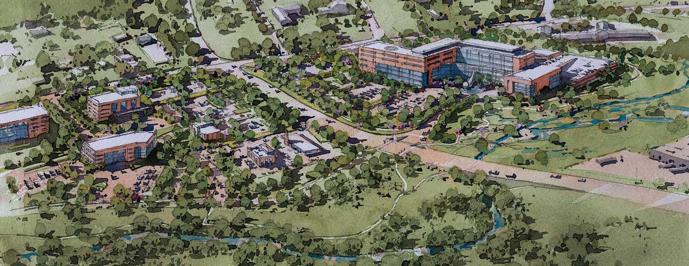 An artist's rendering in pastel colors shows an aerial view of Hampden Medical Center, looking from the rear of the property south toward Wertzville Road. Good Hope Road runs to the right or west of the hospital rendering, and Interstate 81 is shown along the left or east of the hospital. Empty parking lots planned at the site show to the bottom, right and top of the building, while many deciduous and evergreen trees encircle the site. A large retention pond can be seen to the south of the hospital between the parking lot and Wertzville Road.